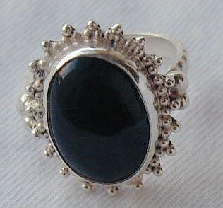 Maskit silver oynx ring-X