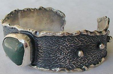 Green oxidized silver bangle