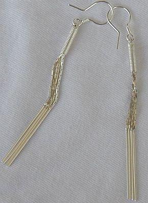 Silver pipes earrings