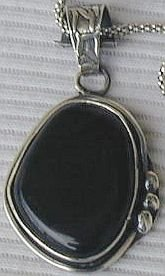 Beautiful handmade black agate pendant