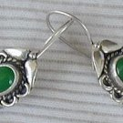 Green siver earrings