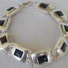 Onyx parts silver  bracelet
