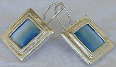 Light blue square earrings-D