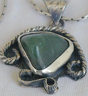 Green agate pendant-F