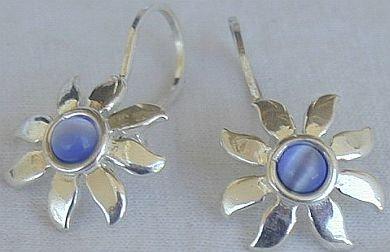 Mini blue sun earrings