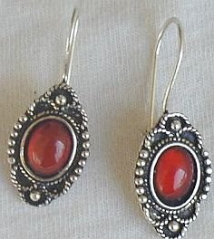 Mini red glass earrings