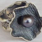 Black pearl handmade ring-HMA