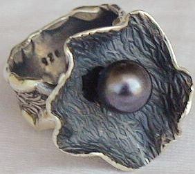 Black pearl handmade ring-HMA