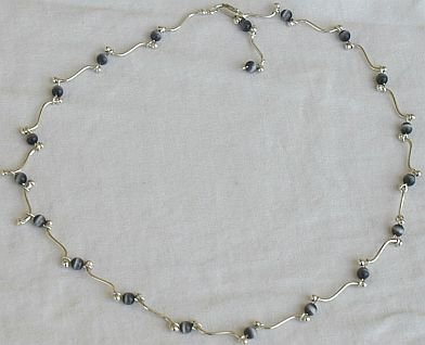 Gray cat eye stones necklace