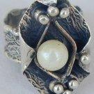 White pearl-handmade ring-PL1