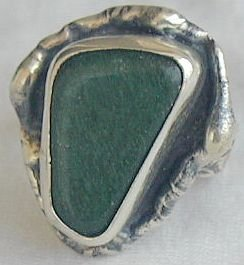 Green glass handmade ring-SR46