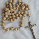 Wood beads Rosary &silver colored Cross
