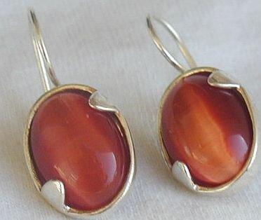 Orange cat eye earrings-LH