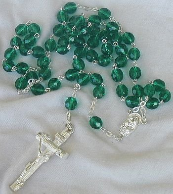 Beautiful green beads rosary
