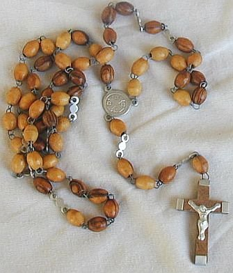 Wood Rosary  with Jerusalem Cross