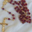 Red Rosary with gold Cross
