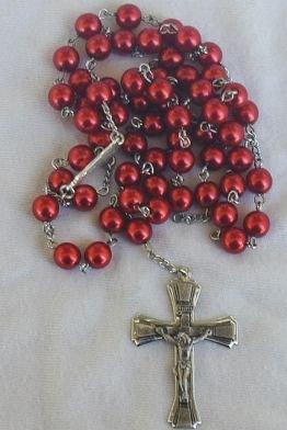 Coral metal Rosary
