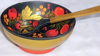 Russian wood bowl with  teaspoon