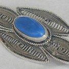 Blue agate brooch