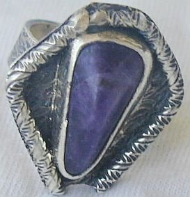 Purple pressed glass ring-RHM-126