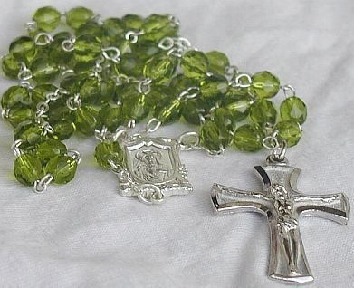 Peridot glass beads Rosary