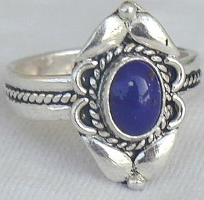 Blue agate mini silver ring