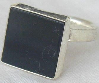Black agate square ring