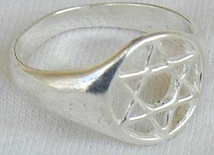 Silver Star of David ring
