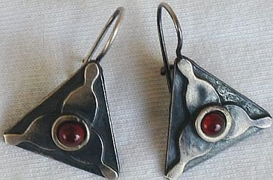 Triangle red earrings