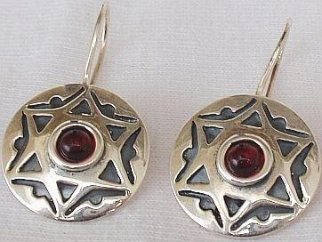 David -star red earrings