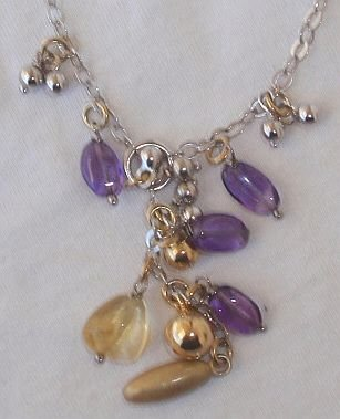 Purple and gold necklace.