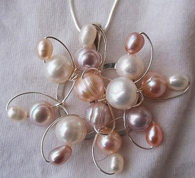 Pearls flower silver pendant