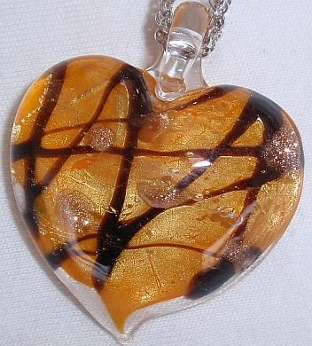 Morano orange heart pendant