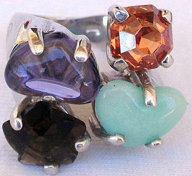 Quartz and purple crystals ring