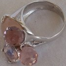 Light pink quartz and crystals ring