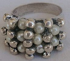 White pearls and silver pearls-ring