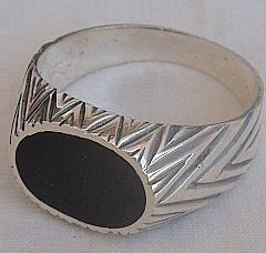 Black surface man ring