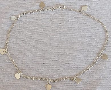 8 silver hearts anklet