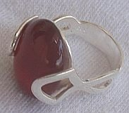 Red stone silver ring-C