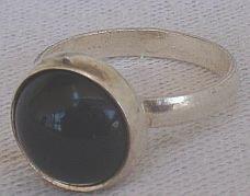 Silver onyx ring-C