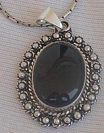 Maskit onyx silver pendant