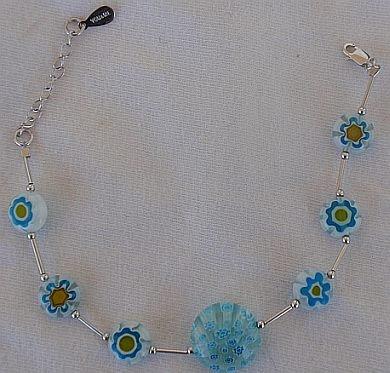 Light blue mornao flowers bracelet