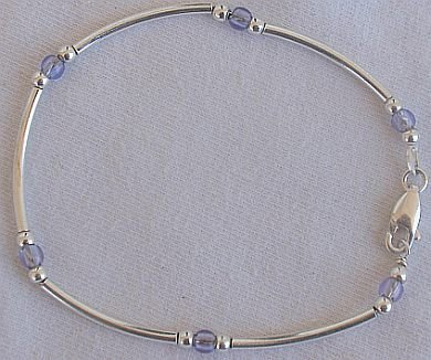 Light purple silver bracelet-AB