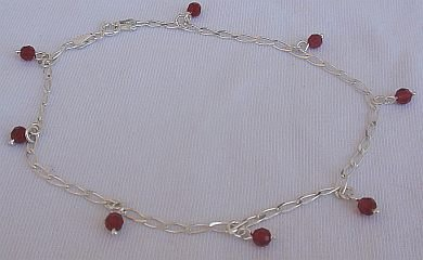 Red silver anklet