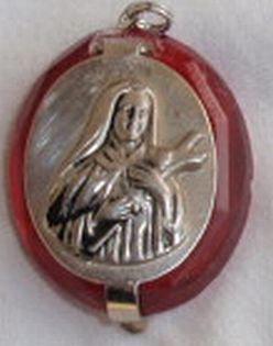 Mini red Rosary box-Madona