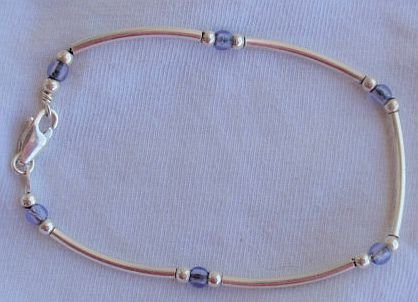 Purple blue silver bracelet