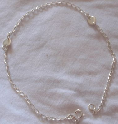 Two hearts silver anklet