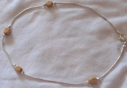 Silver anklet with wood