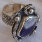 Purple white silver ring 035