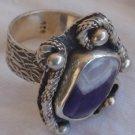 Purple white silver ring 035